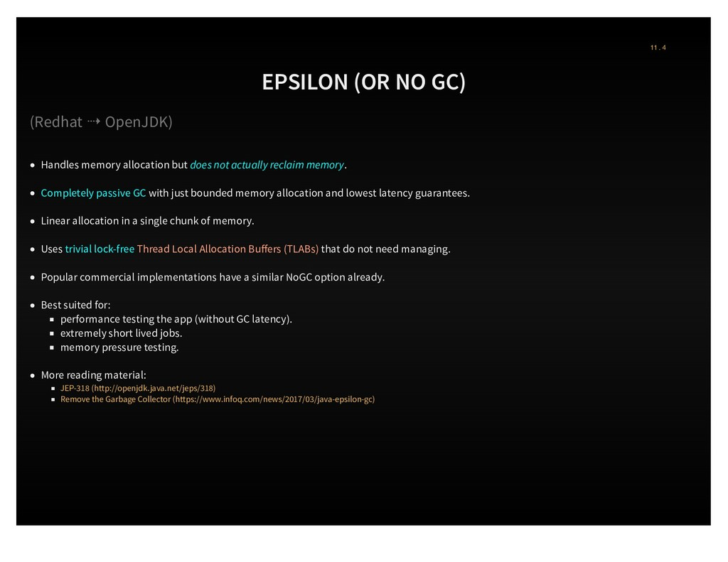EPSILON (OR NO GC) (Redhat ⇢ OpenJDK) Handles m...
