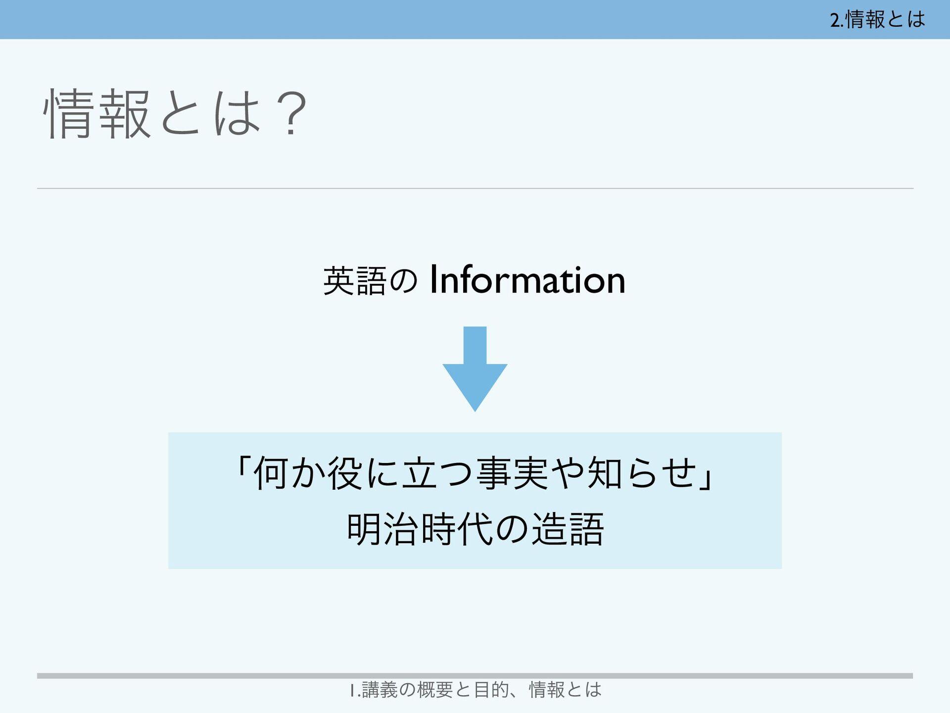 2.ใͱ ใͱʁ ӳޠͷ Information ʮԿ͔ʹཱ࣮ͭΒͤʯ ໌...