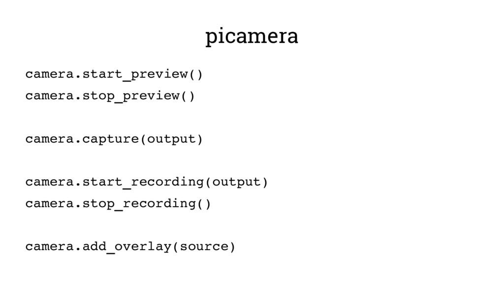 picamera camera.start_preview() camera.stop_pre...