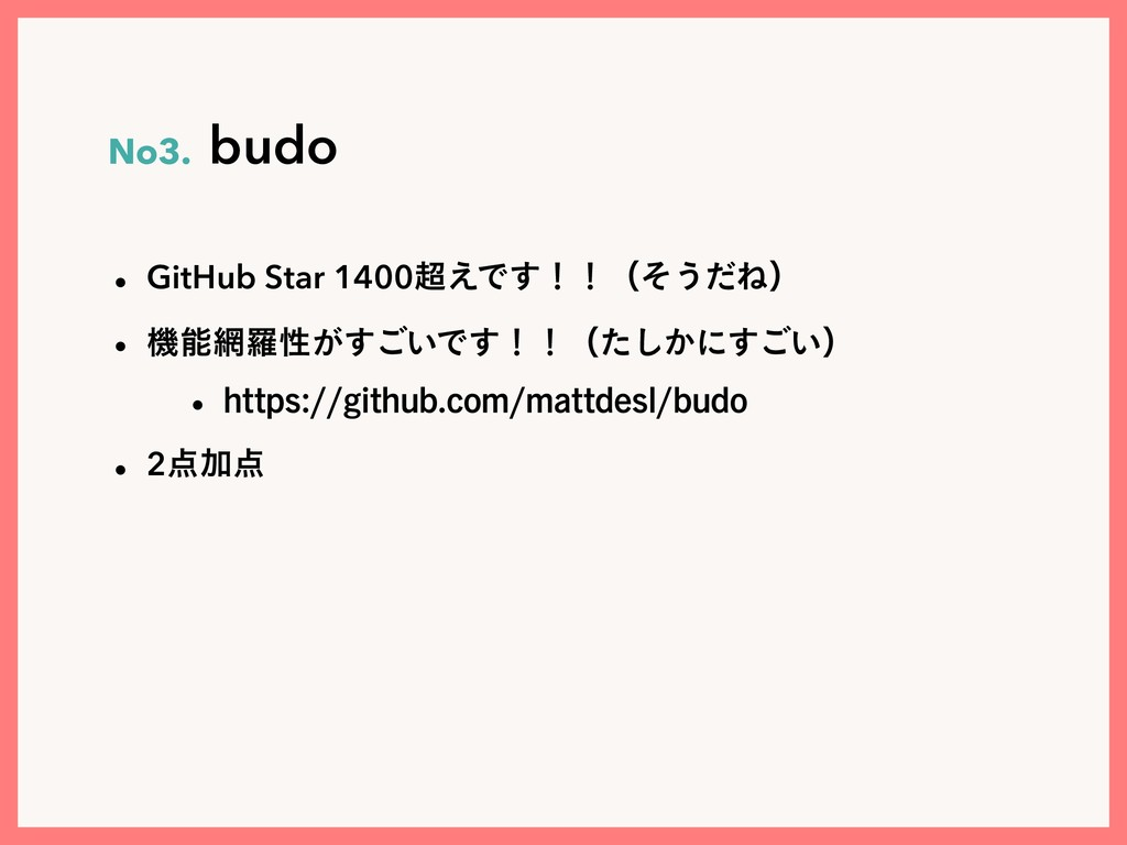 No3.budo w GitHub Star 1400͑Ͱ͢ʂʂʢͦ͏ͩͶʣ w ػ...