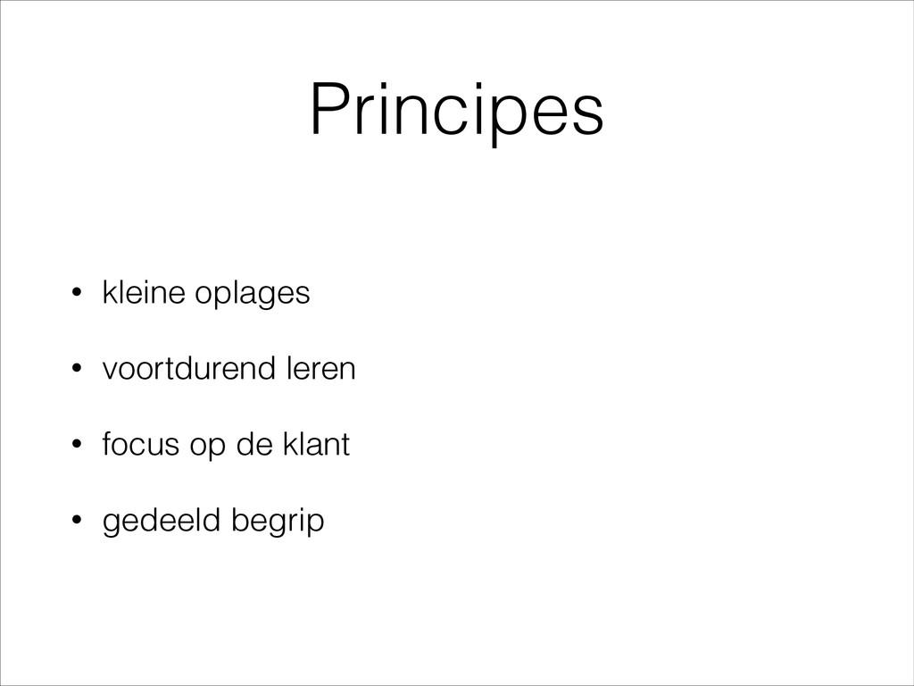 Principes • kleine oplages • voortdurend leren ...