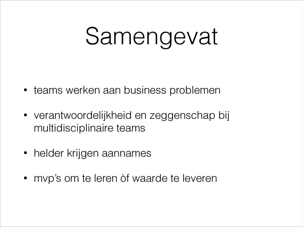 Samengevat • teams werken aan business probleme...