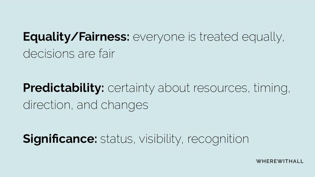 Equality/Fairness: everyone is treated equally,...