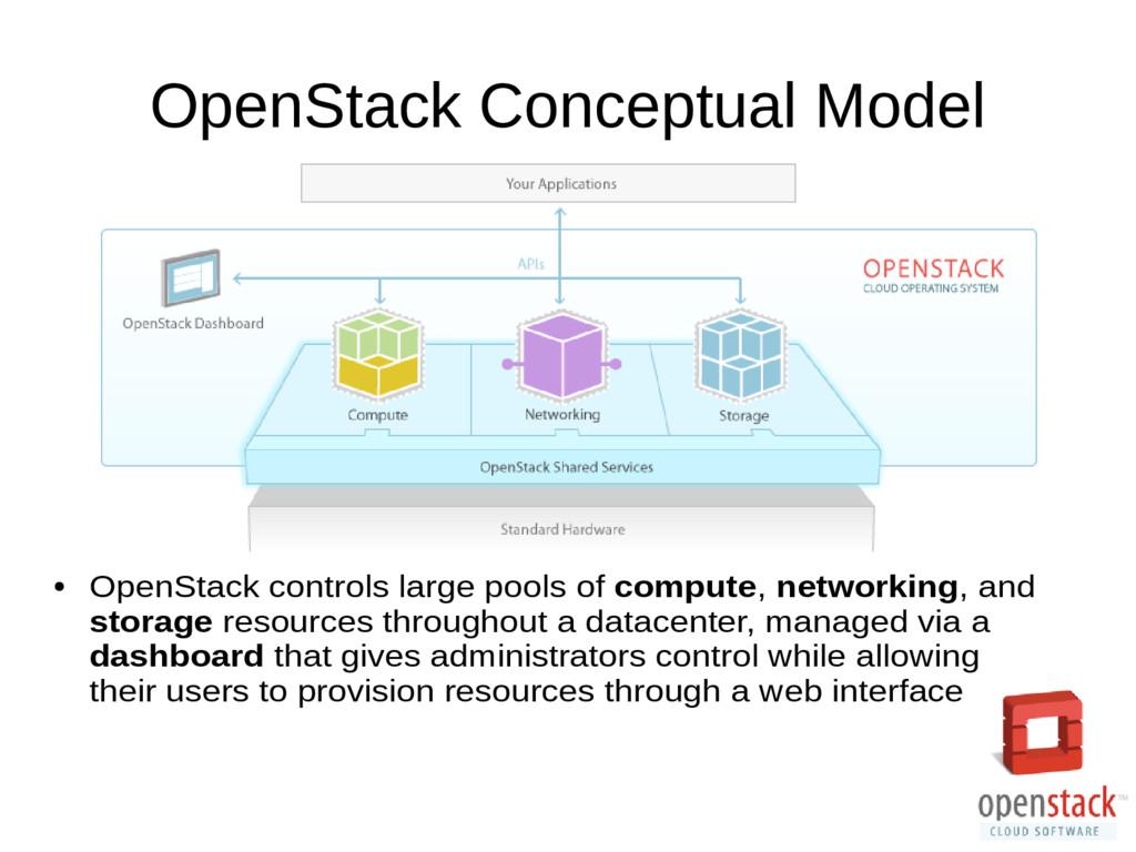 OpenStack Conceptual Model ● OpenStack controls...