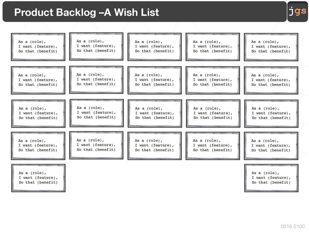 jgs 0516 0100 Product Backlog –A Wish List As a...