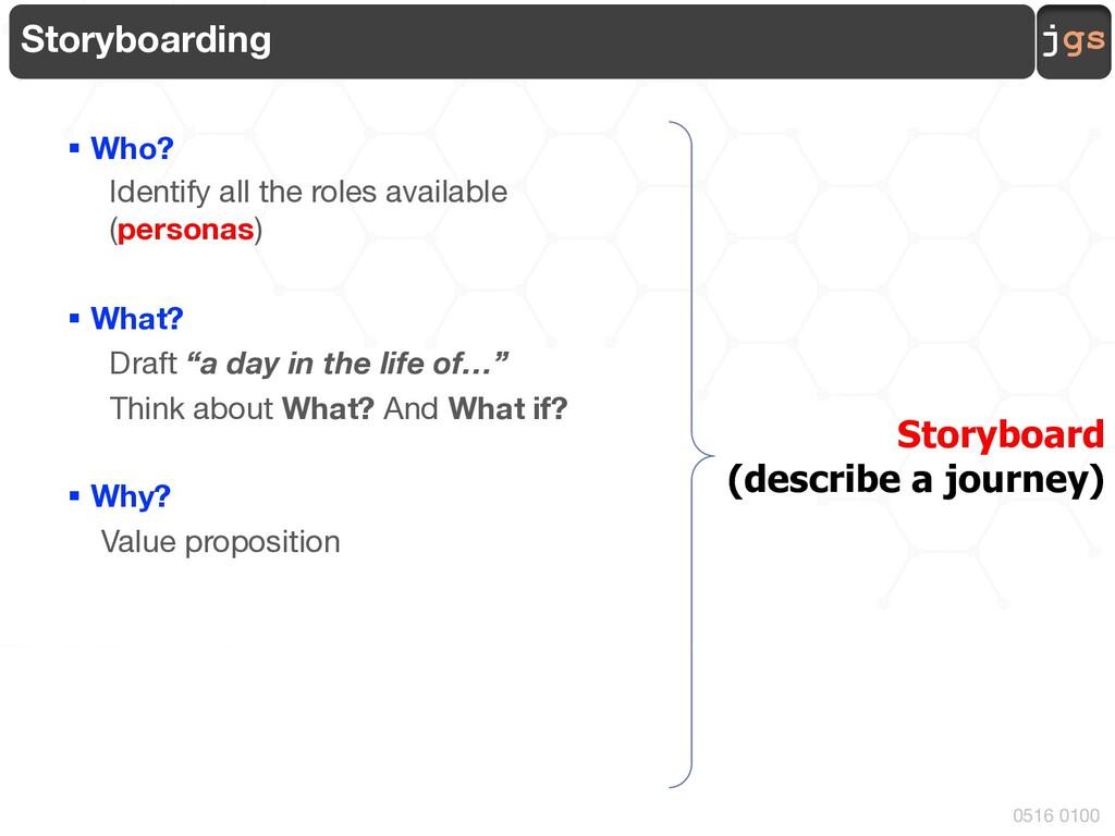 jgs 0516 0100 Storyboarding § Who? Identify all...
