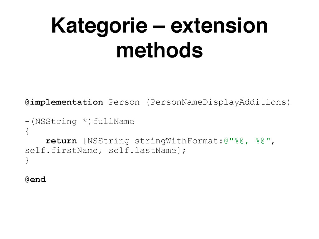 Kategorie – extension methods @implementation P...