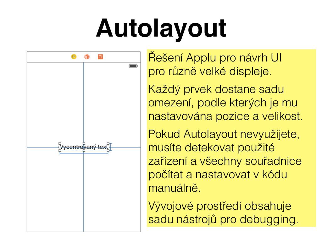 Autolayout Řešení Applu pro návrh UI pro různě...