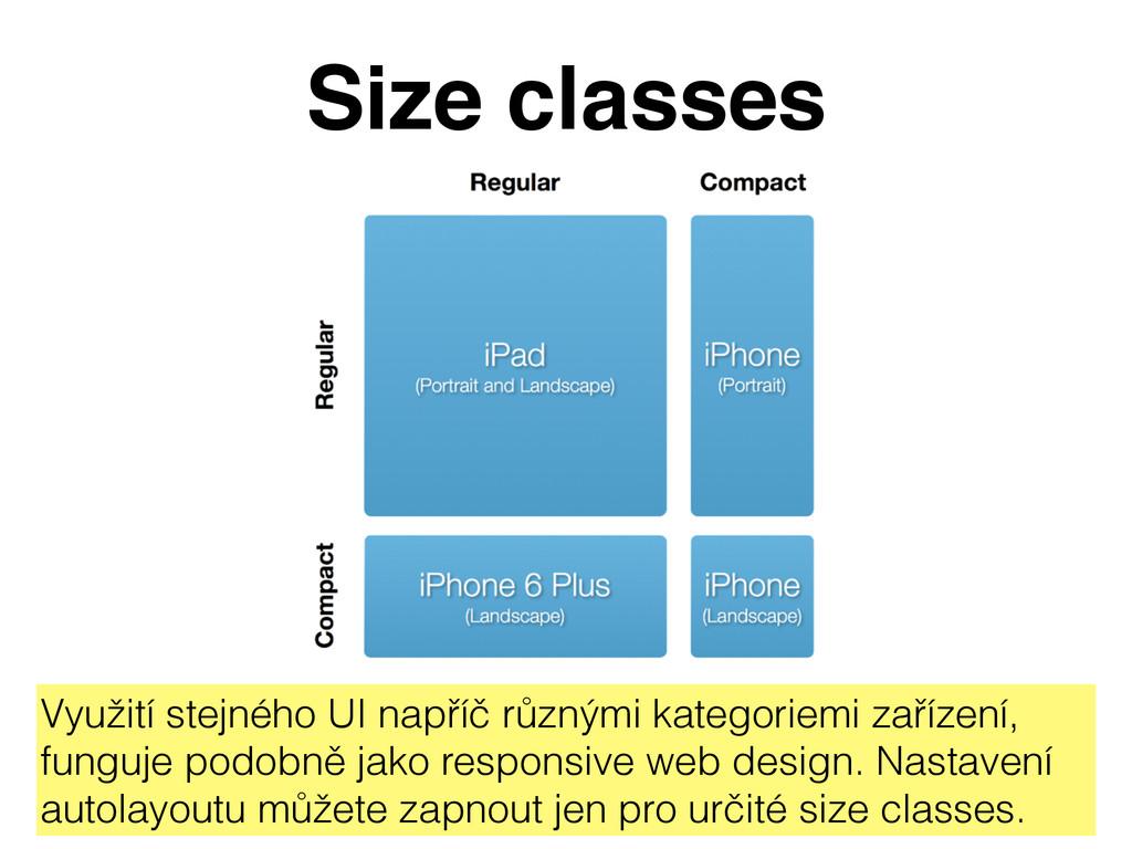 Size classes Využití stejného UI napříč různými...