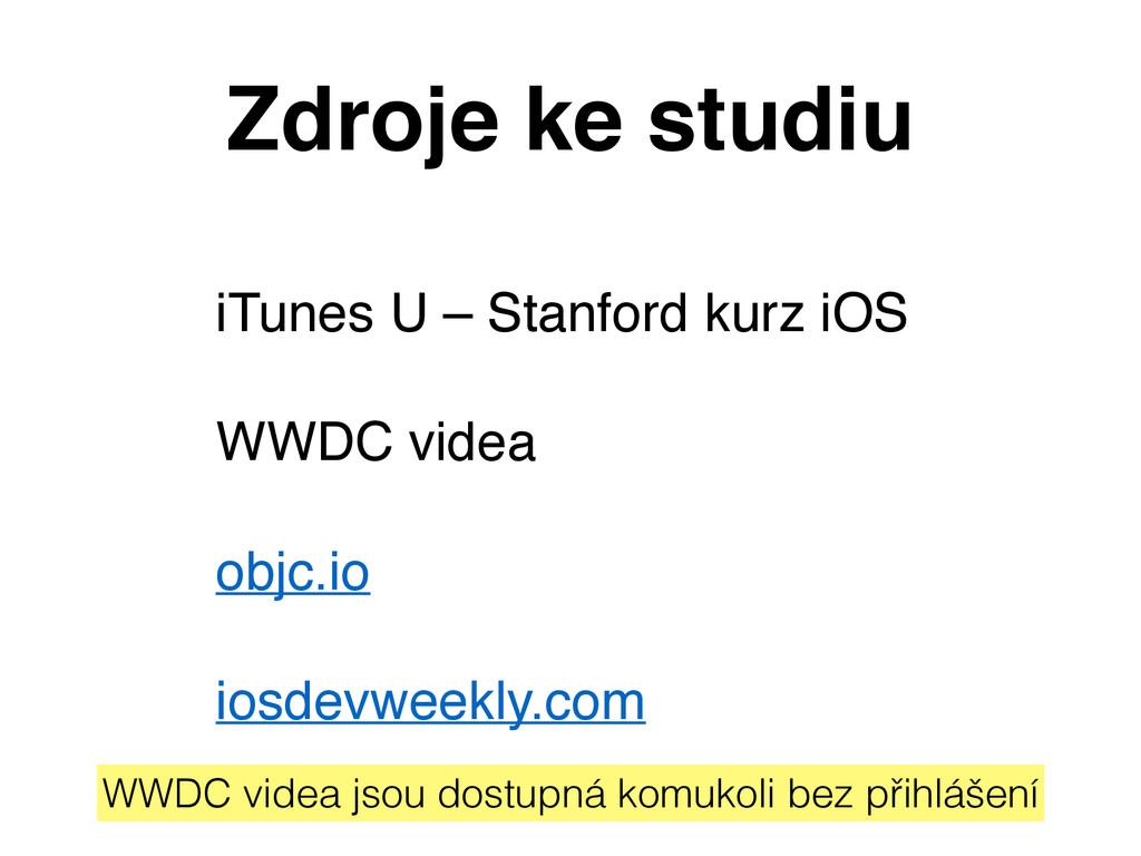 Zdroje ke studiu iTunes U – Stanford kurz iOS W...