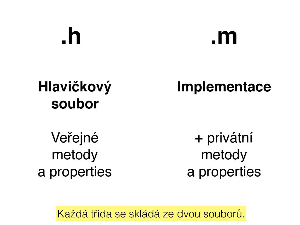 .h .m Hlavičkový soubor Veřejné metody a prope...
