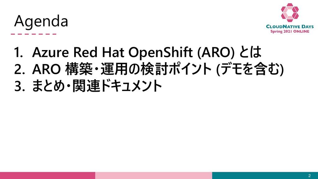 Agenda 1. Azure Red Hat OpenShift (ARO) とは 2. A...