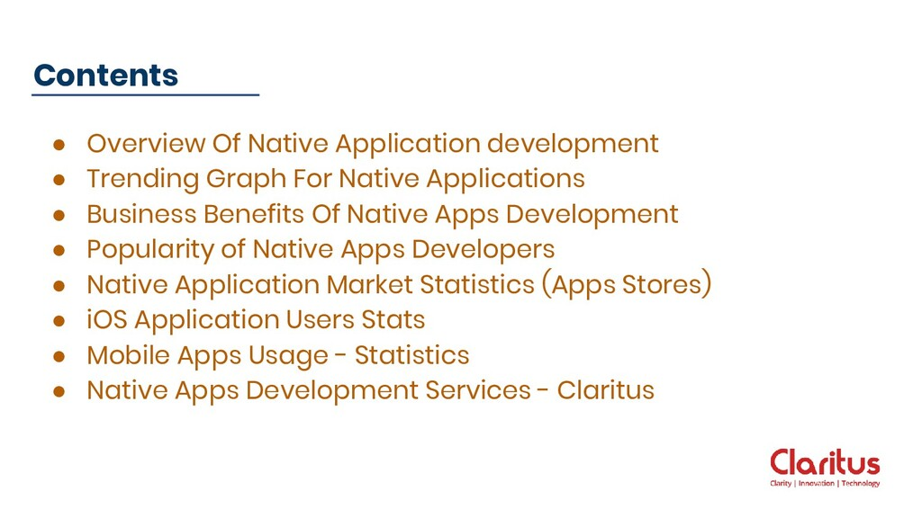 ● Overview Of Native Application development ● ...