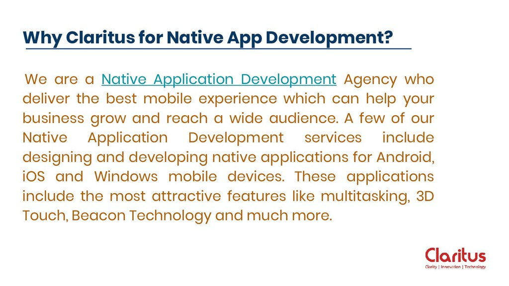 We are a Native Application Development Agency ...