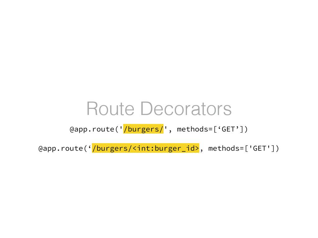 Route Decorators @app.route('/burgers/', method...