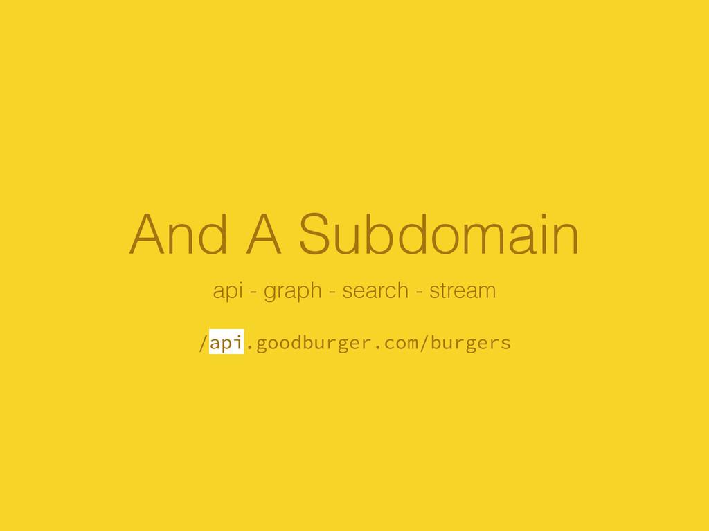 And A Subdomain api - graph - search - stream !...