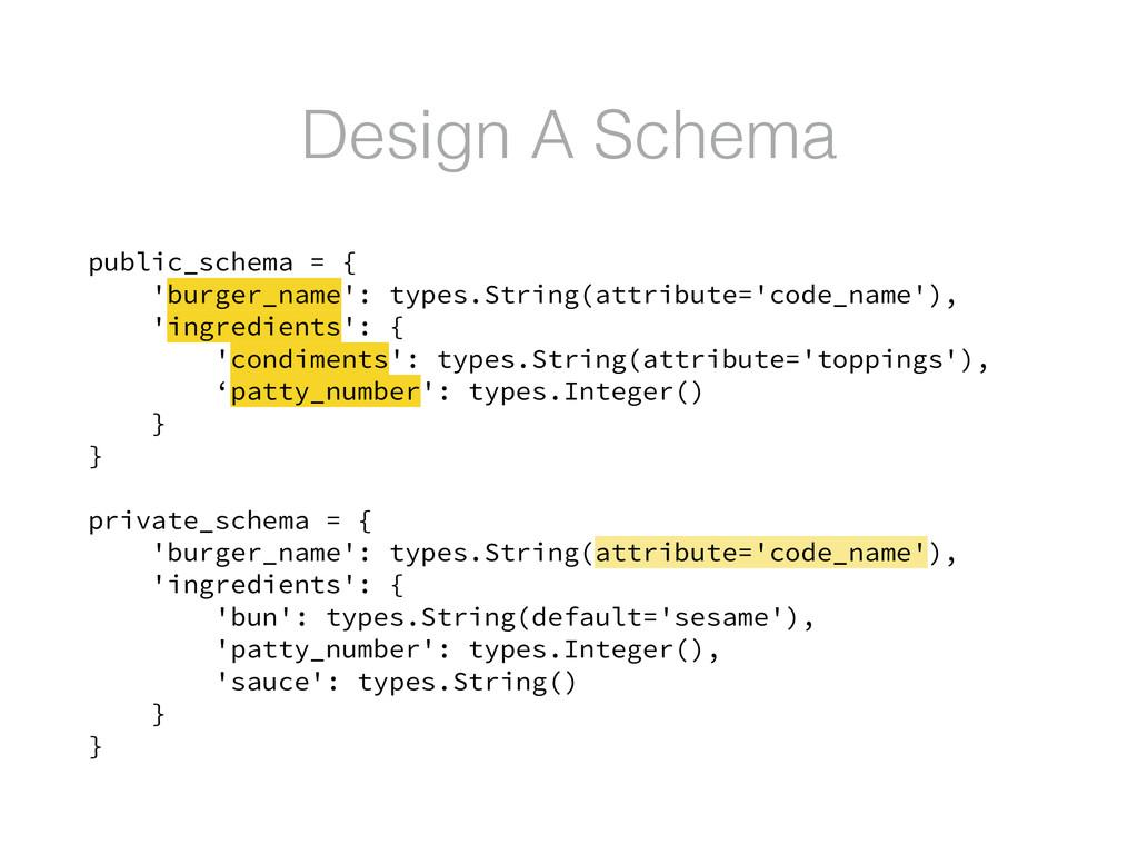 Design A Schema public_schema = { 'burger_name'...