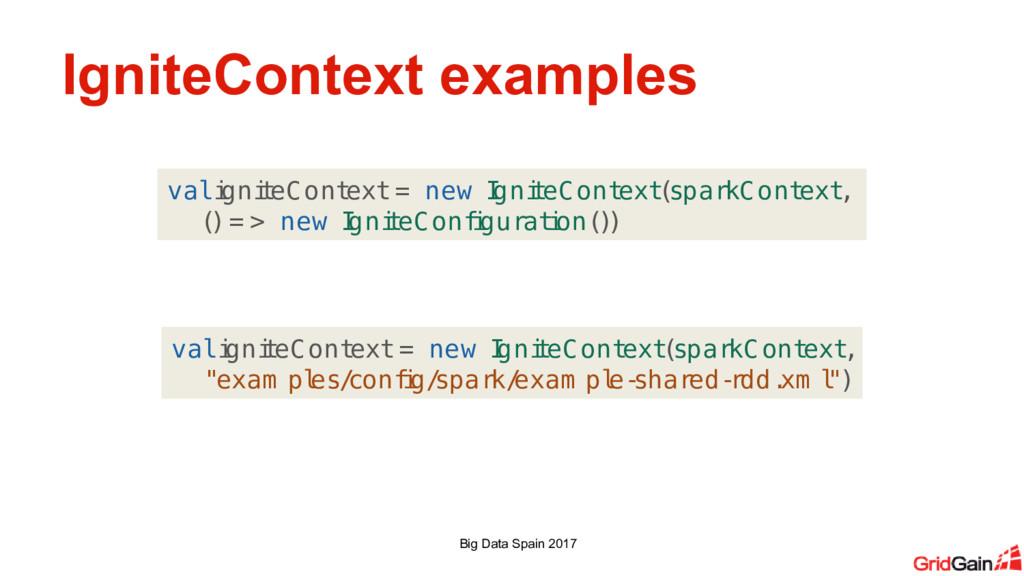 IgniteContext examples Big Data Spain 2017 val ...