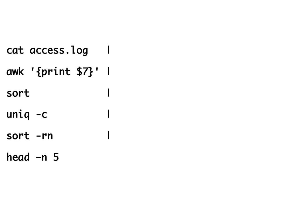 cat access.log | awk '{print $7}' | sort | uniq...