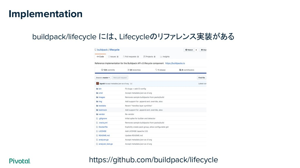Implementation buildpack/lifecycle には、Lifecycle...