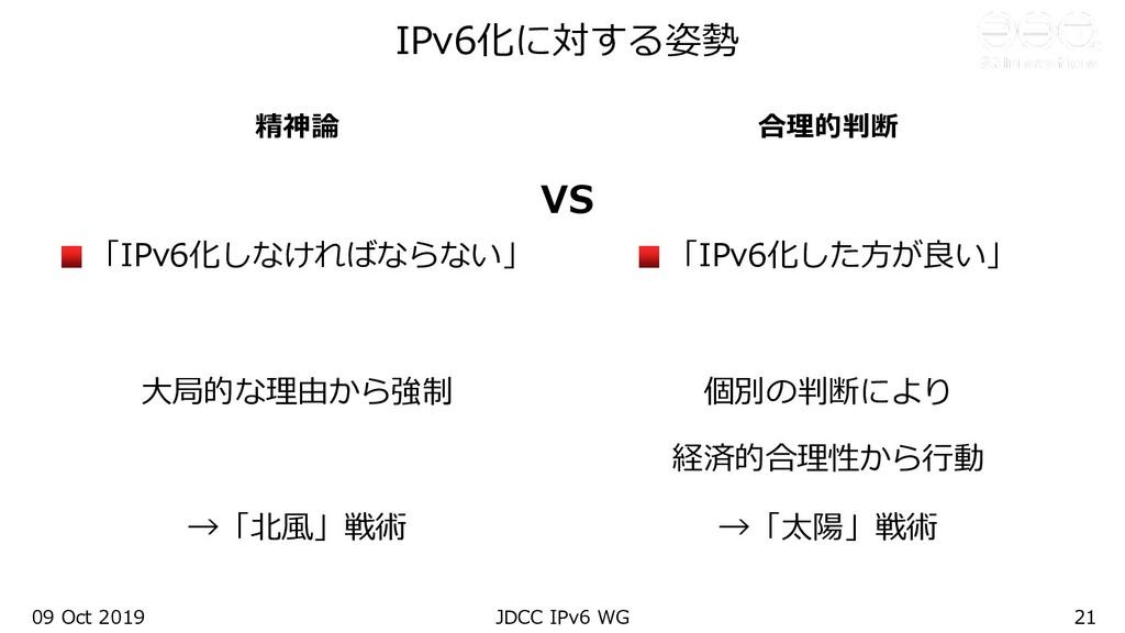 09 Oct 2019 JDCC IPv6 WG 21 精神論 「IPv6化しなければならない...