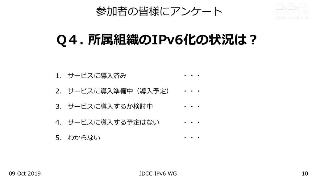 参加者の皆様にアンケート Q4. 所属組織のIPv6化の状況は︖ 1. サービスに導⼊済み ・...