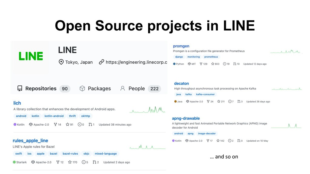Open Source projects in LINE … and so on