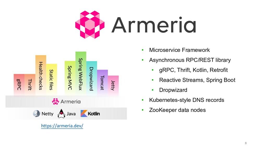 8 https://armeria.dev/ • Microservice Framework...