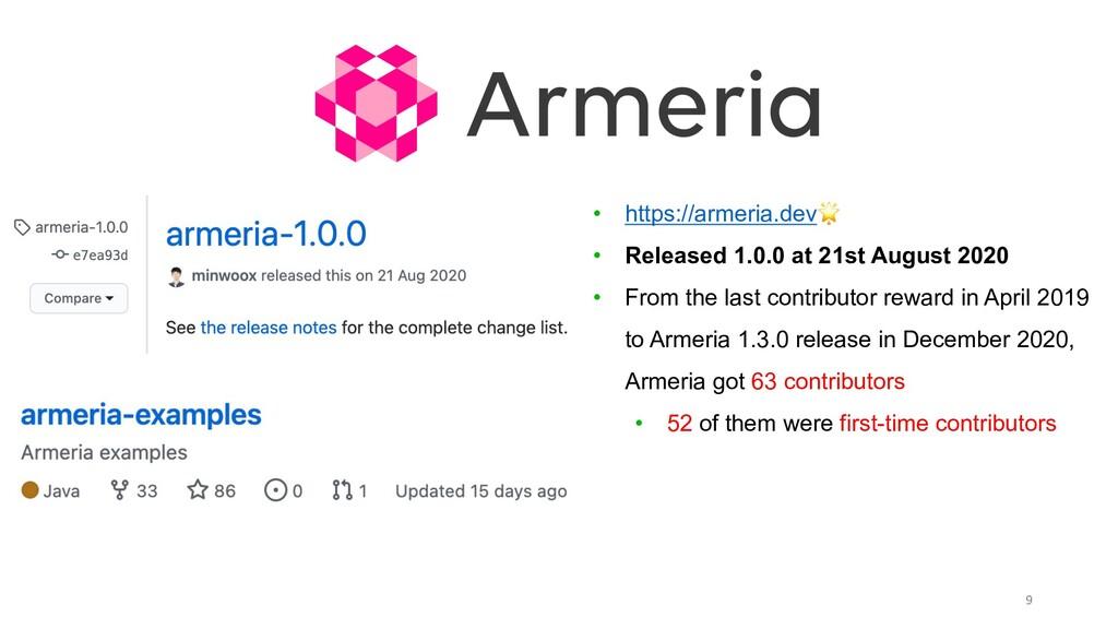 9 • https://armeria.dev🌟 • Released 1.0.0 at 21...
