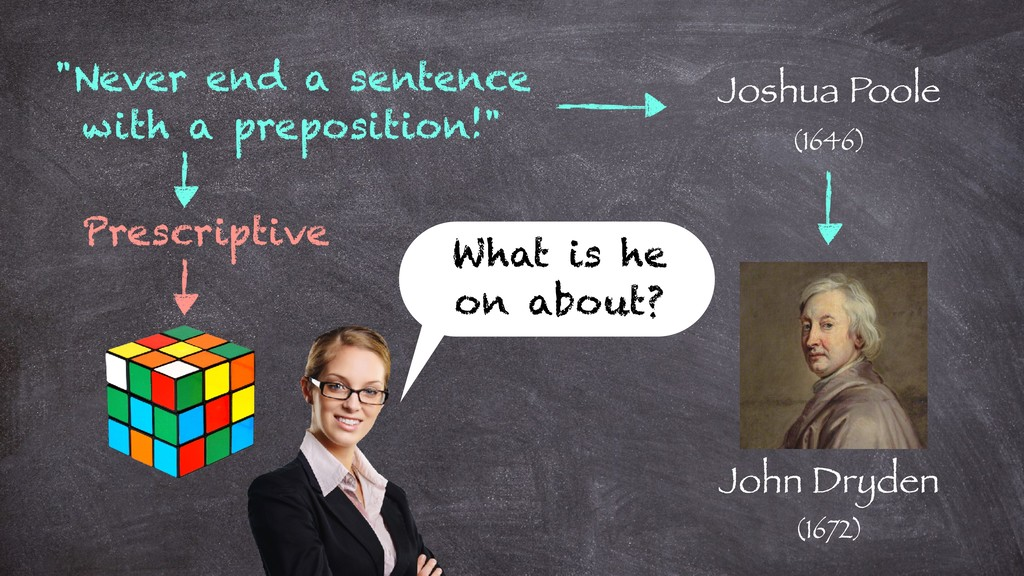 """""""Never end a sentence with a preposition!"""" Josh..."""