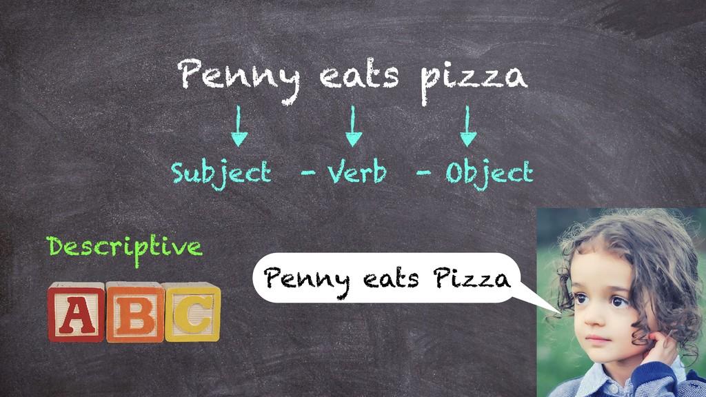 Penny eats pizza Subject - Verb - Object Descri...