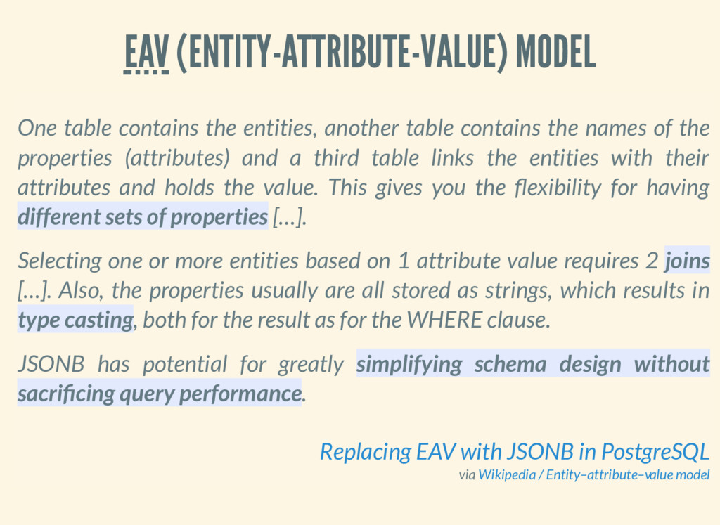 EAV (ENTITY-ATTRIBUTE-VALUE) MODEL One table co...