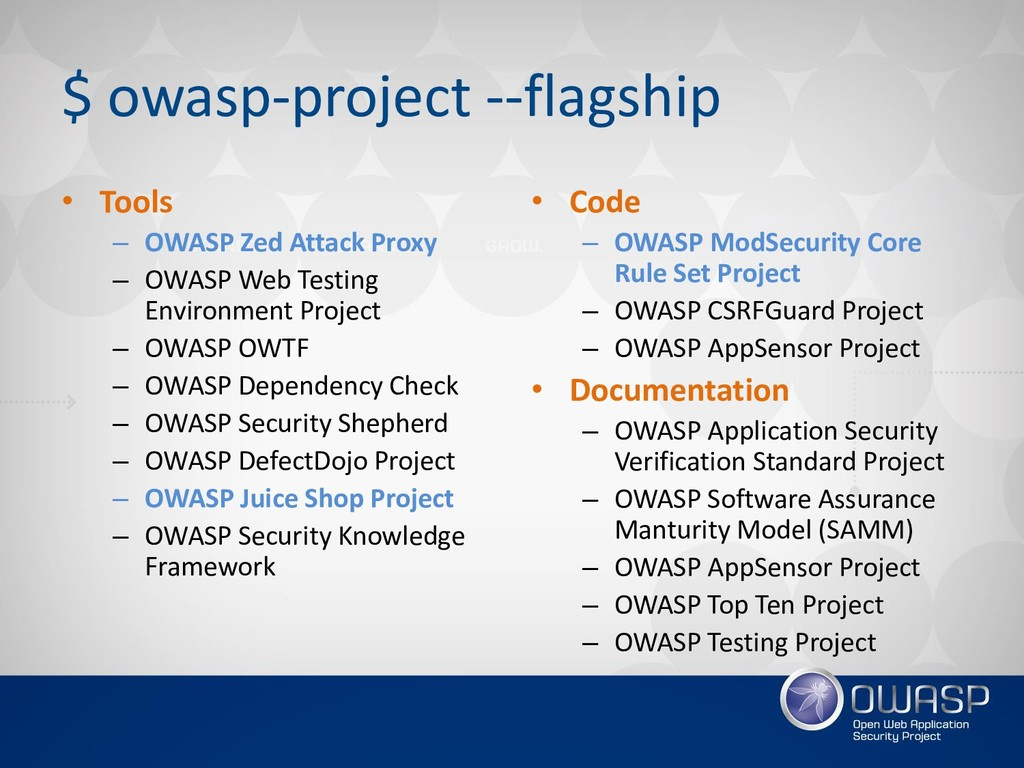 $ owasp-project --flagship • Tools – OWASP Zed ...
