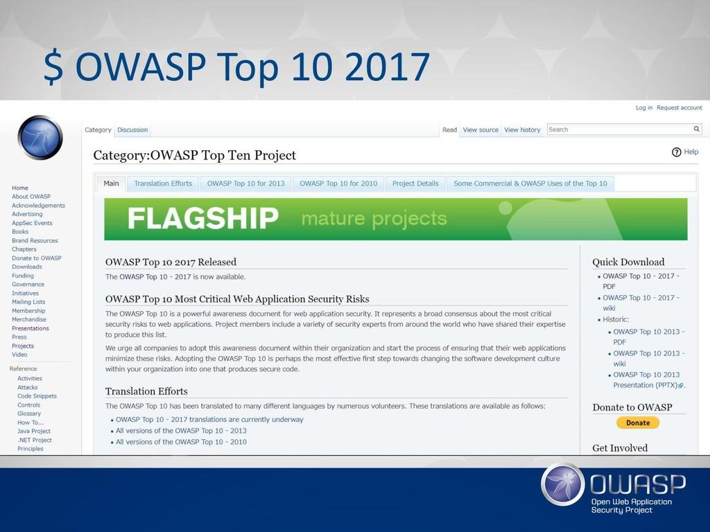 $ OWASP Top 10 2017