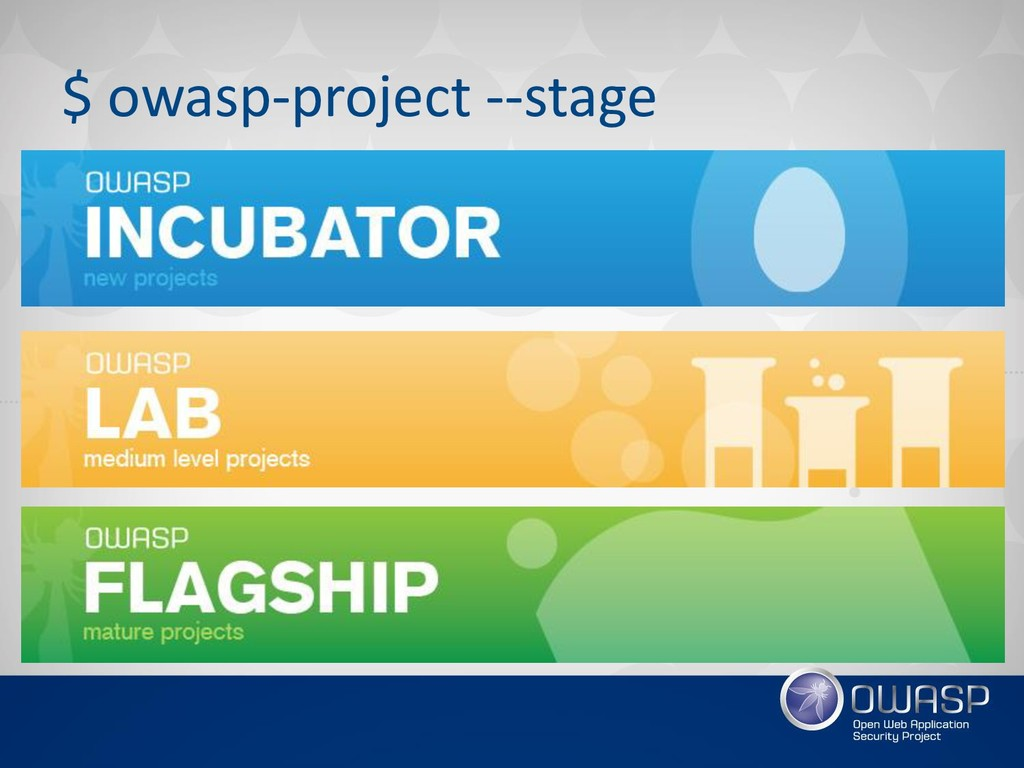 $ owasp-project --stage