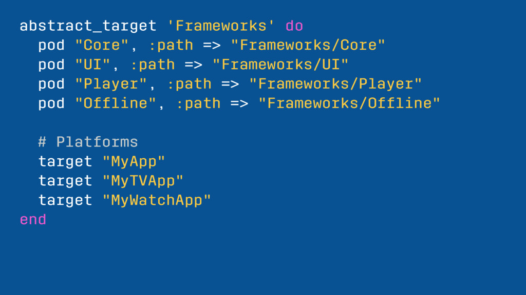 """abstract_target 'Frameworks' do pod """"Core"""", :pa..."""