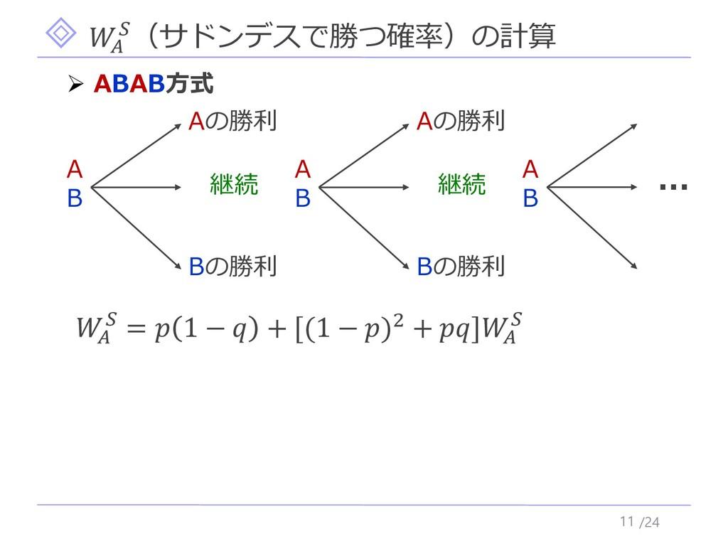 /24  (サドンデスで勝つ確率)の計算 11 ➢ ABAB方式   =  1 −  + [(...