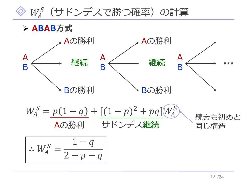 /24  (サドンデスで勝つ確率)の計算 12 ➢ ABAB方式   =  1 −  + [(...