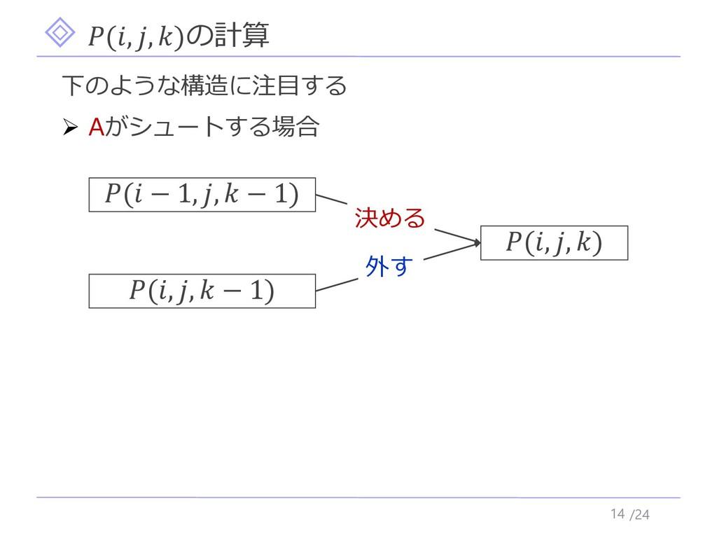 /24 (, , )の計算 14 下のような構造に注目する ➢ Aがシュートする場合 (, ,...