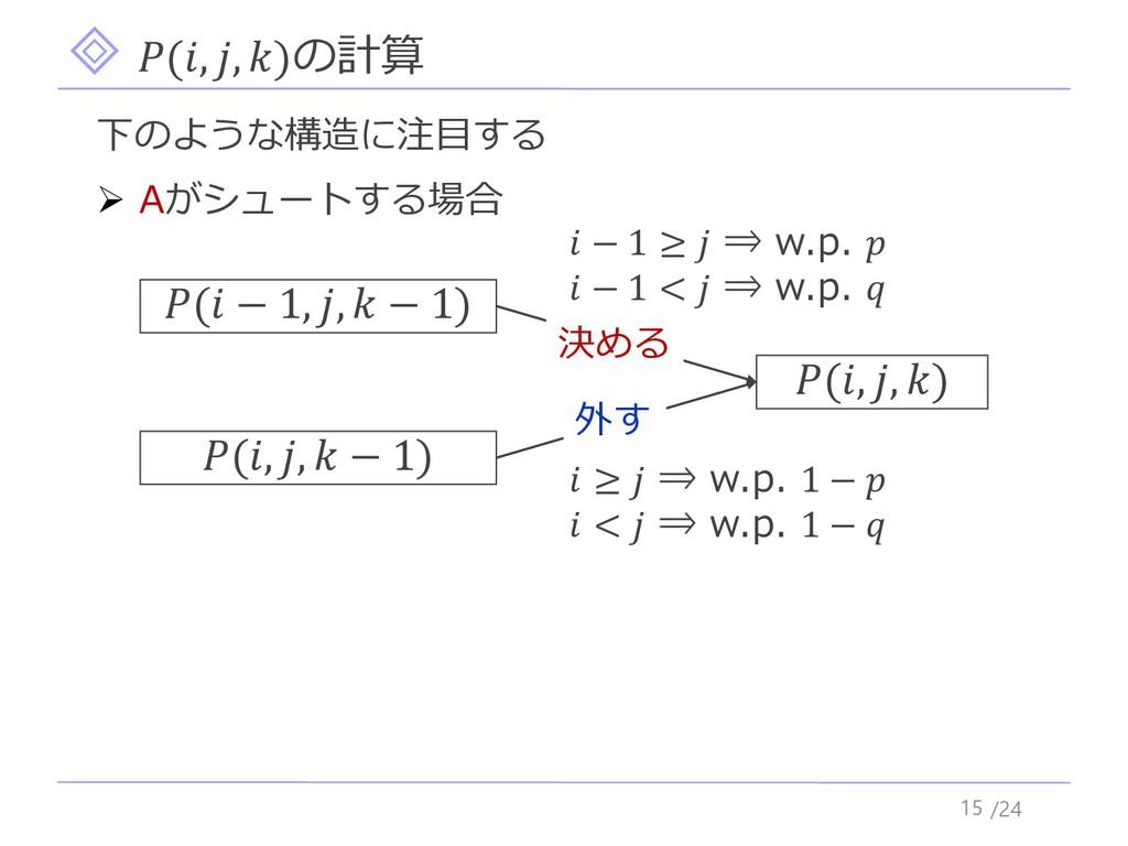 /24 (, , )の計算 15 下のような構造に注目する ➢ Aがシュートする場合 (, ,...