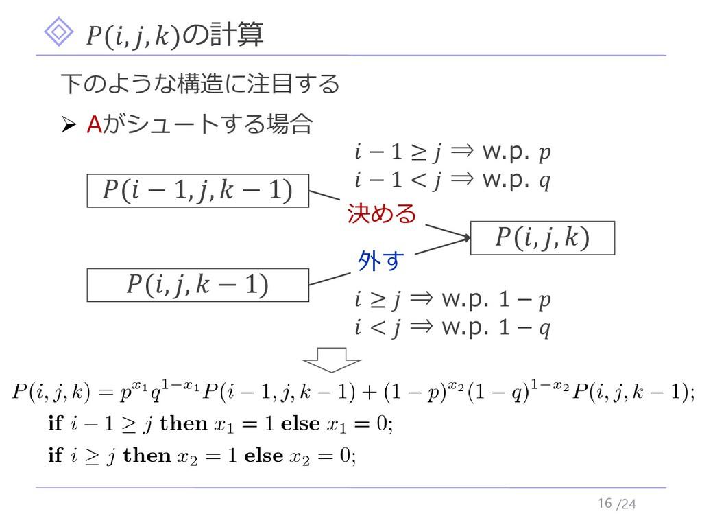 /24 (, , )の計算 16 下のような構造に注目する ➢ Aがシュートする場合 (, ,...