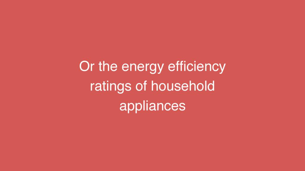 Or the energy efficiency ratings of household ap...