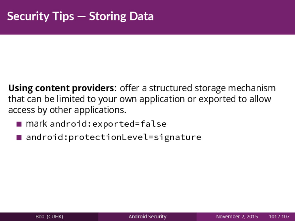 Security Tips — Storing Data Using content prov...