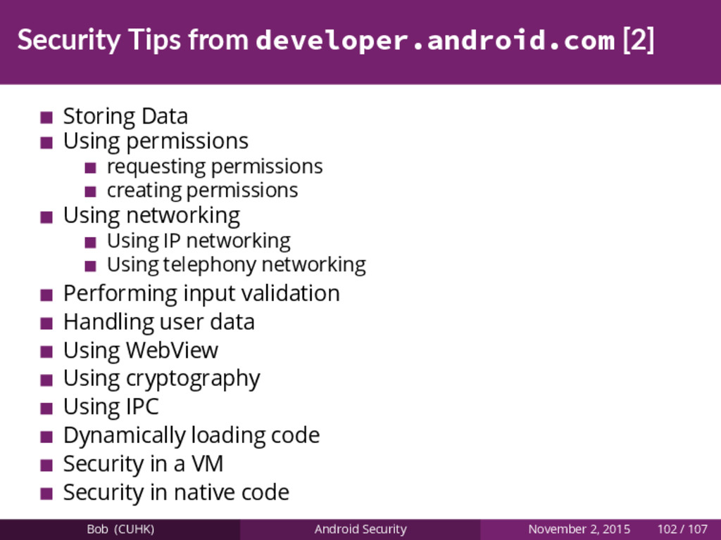 Security Tips from developer.android.com [2] St...