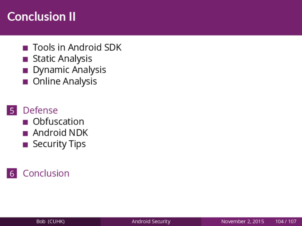 Conclusion II Tools in Android SDK Static Analy...