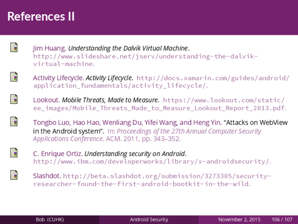 References II Jim Huang. Understanding the Dalv...