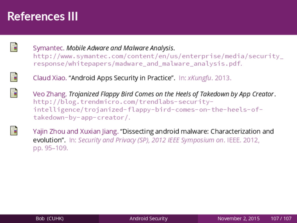 References III Symantec. Mobile Adware and Malw...