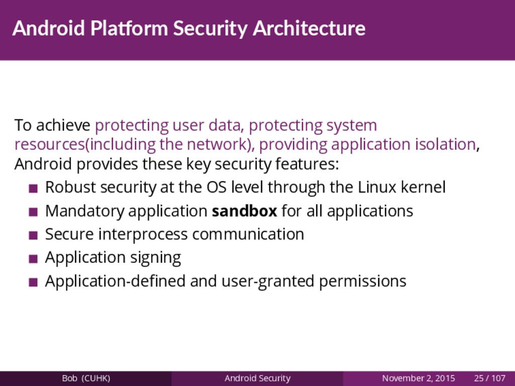 Android Pla orm Security Architecture To achiev...
