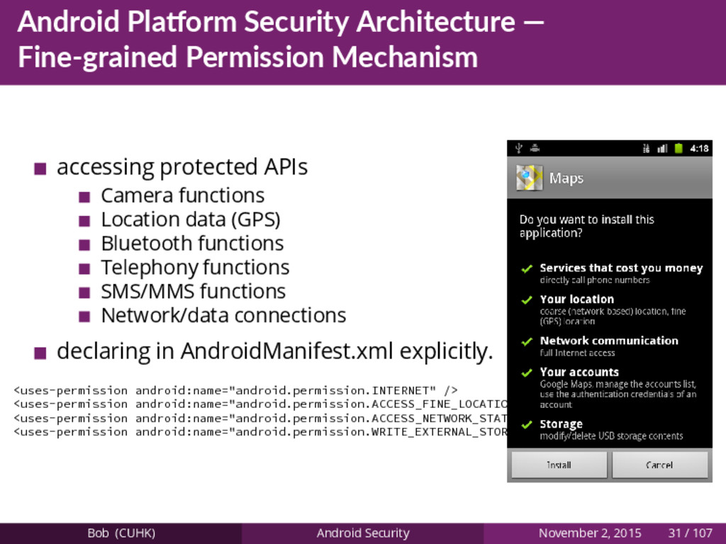 Android Pla orm Security Architecture — Fine-gr...