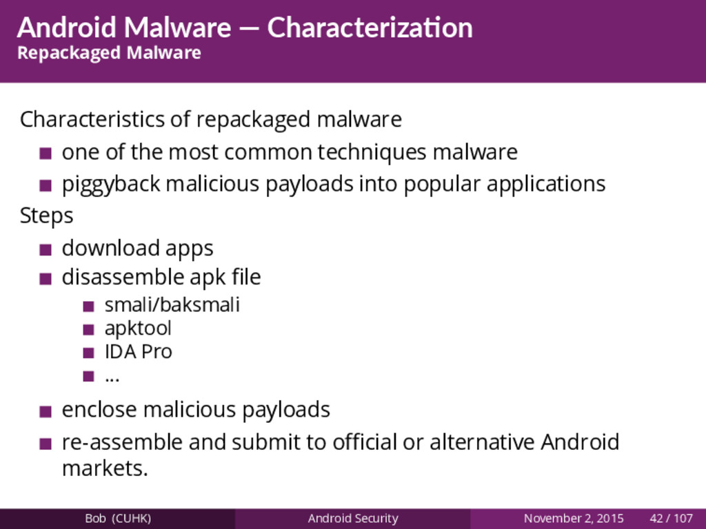 Android Malware — Characteriza on Repackaged Ma...